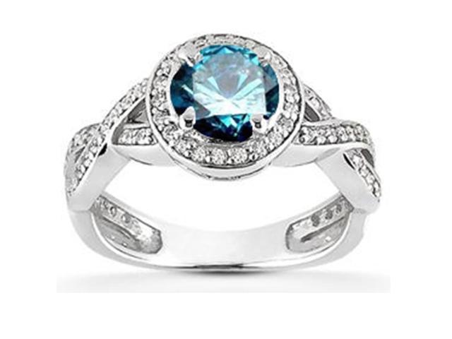 3/4 ct Halo Treated Blue Halo Solitaire Diamond Engagement Ring 14K White Gold
