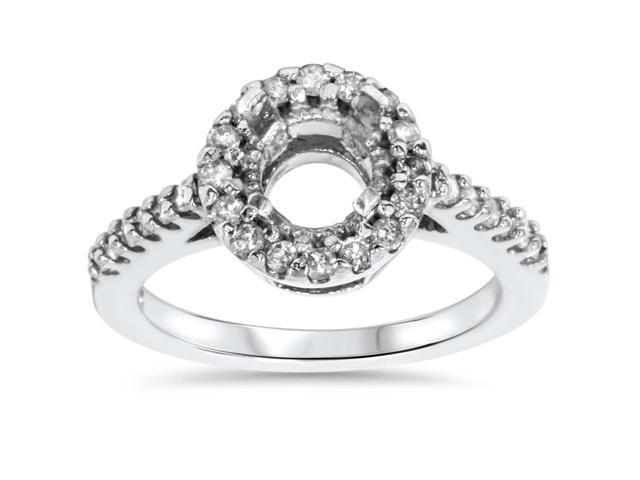 1/2ct Pave Halo Diamond Engagement Ring Setting 14K White Gold