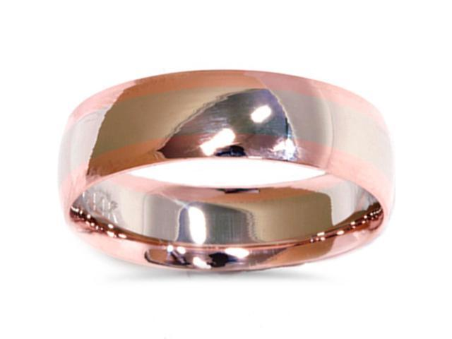 White & Rose Gold Plain High Polished Wedding Band 14K
