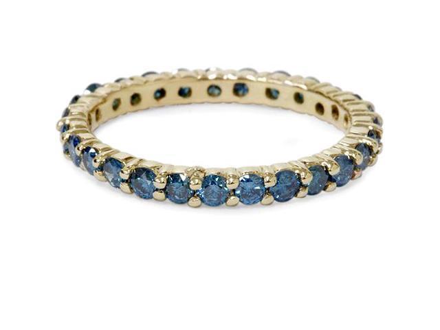 1 1/2ct Round Treated Blue Genuine Diamond Eternity Wedding Ring 14K Yellow Gold