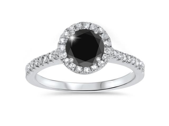 1 3/8ct Treated Diamond & Black Engagement Ring 14K White Gold