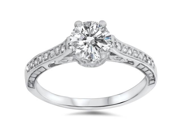 1 1/5ct Vintage Diamond Engagment Ring 14K White Gold