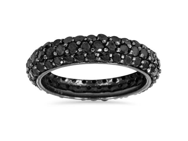 3 1/3ct Black Diamond Pave Eternity Wedding Anniversay Ring