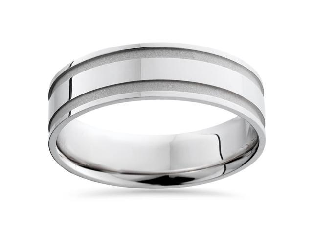 Mens White Gold 6mm Polished Wedding Band