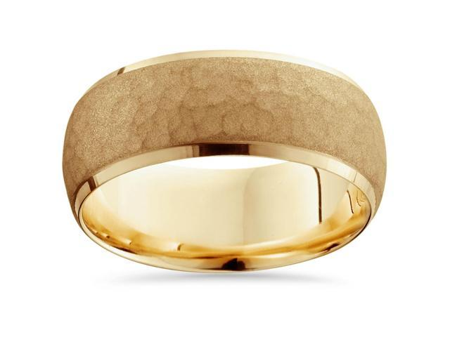 Mens 14K Gold Hammered Bevel Comfort Wedding Ring Band