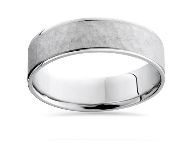 Mens 14K White Gold Flat Hammered Wedding Ring Band