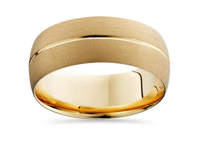Mens 14k Yellow Gold Wedding Band Brushed Bridal Ring