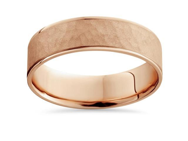 14k Rose Gold Hammered Comfort Fit Wedding Band