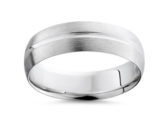 Mens 14K White Gold Brushed Comfort Fit Wedding Band