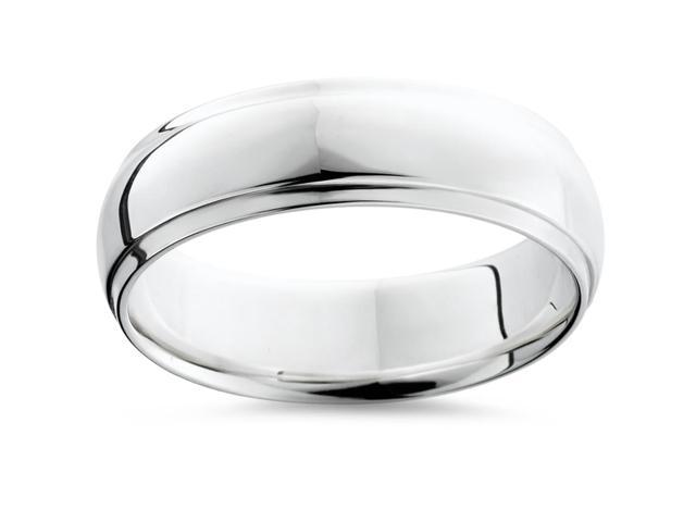 Mens Argentium Silver Comfort Fit Wedding Band Ring
