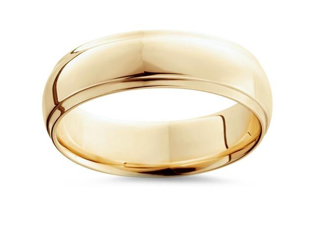 Men's 6MM Step Cut High Polished Wedding Band Ring Solid 14K Yellow Gold