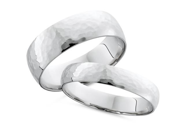 Matching White Gold His Hers Hammered Wedding Band Set