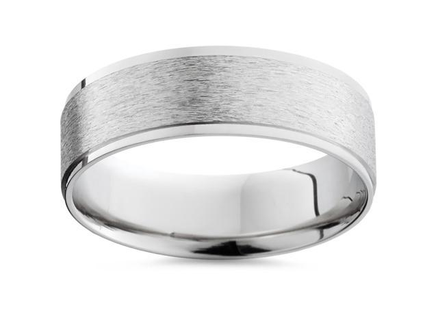 Mens 14K White Gold Flat Brushed Comfort Wedding Band