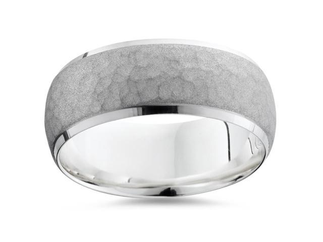 Mens Palladium Hammered Comfort Fit Wedding Ring Band