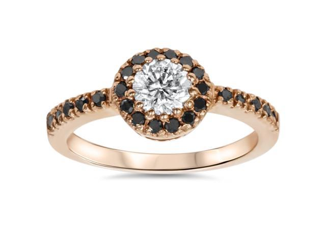 7/8ct Treated Black & White Diamond Engagement Ring 14K Rose Gold