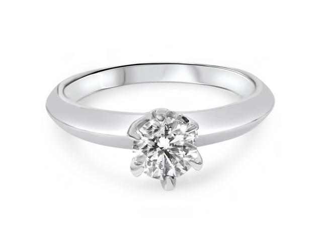 3/4ct Solitaire Diamond 14K White Gold Engagement Ring Round Brilliant Cut