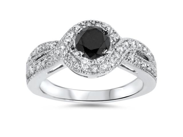 1ct Womens Pave Halo Trated Black Diamond Engagement Ring 14K White Gold