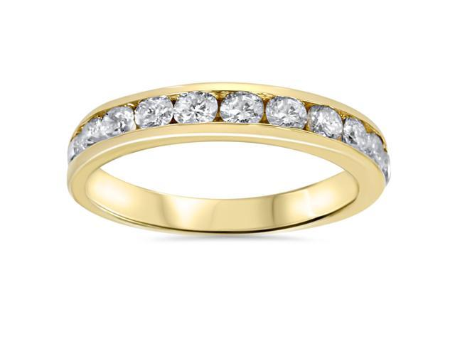 1ct Diamond Wedding Channel Set Ring 14K Yellow Gold Ring Band