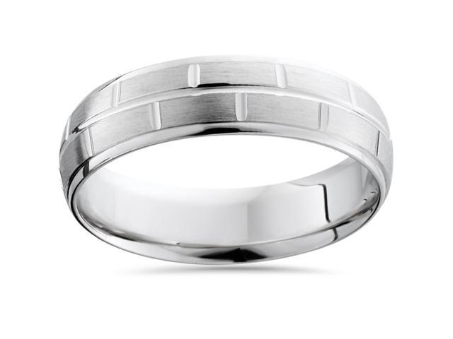 Mens Sterling Silver Comfort Fit Brushed Wedding Band