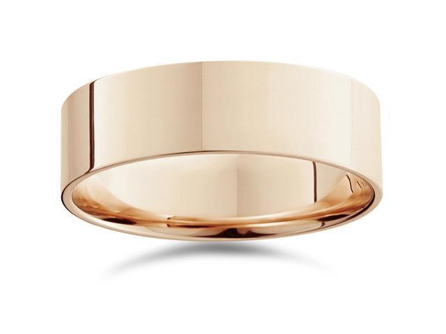 Men's 7mm Flat Comfort Fit Plain Wedding Band 14K Rose Gold