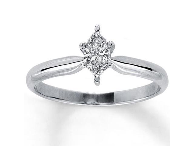 1/4ct Solitaire Marquise Diamond Engagement Ring Solid 14K White Gold