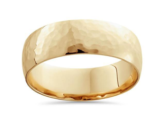 Mens 18K Yellow Polished Hammered Comfort Wedding Band
