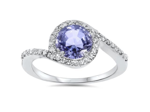1 1/3ct Tanzanite Pave Halo Ring 14K White Gold