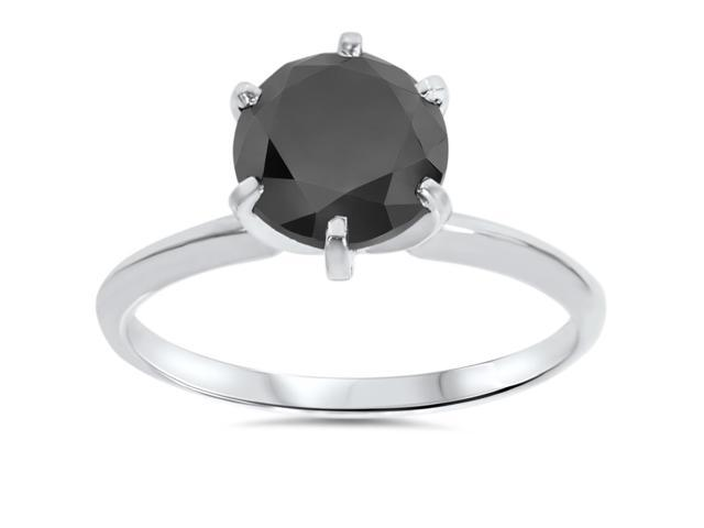 2 1/2ct Treated Black Diamond Solitaire Ring 14K White Gold