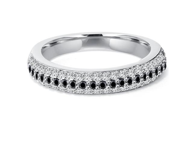 1/2ct Treated Black & White Pave Diamond Wedding Stackable Ring
