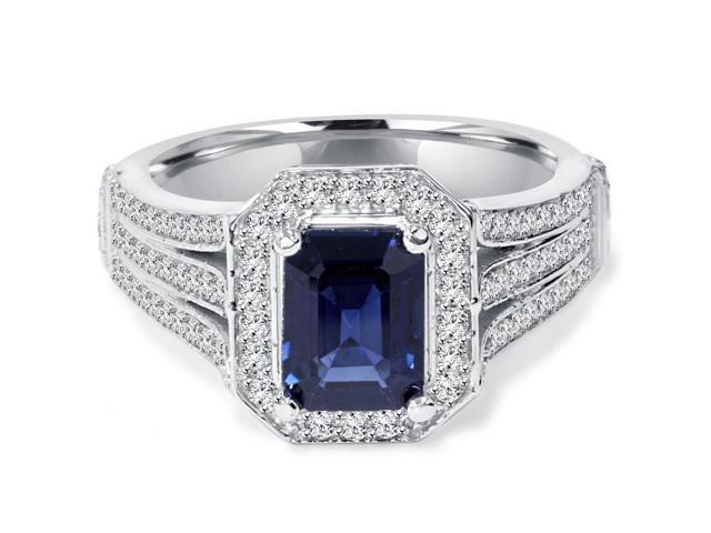 Vintage White Gold 1 1/3ct Blue Sapphire & Diamond Halo Engagement Ring