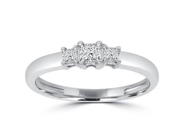 1/2CT Three Stone Princess Cut Diamond Engagment Anniversary Ring 14K White Gold