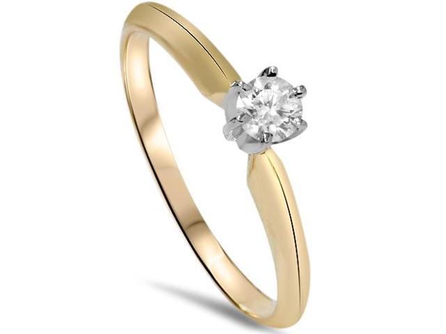 14k Yellow Gold 1/4ct Round Diamond Solitaire Engagement Ring