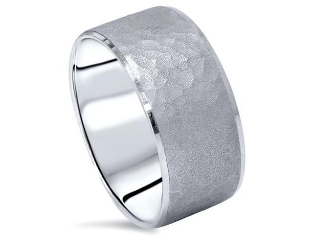 Hammered Beveled Wedding Band 14K White Gold