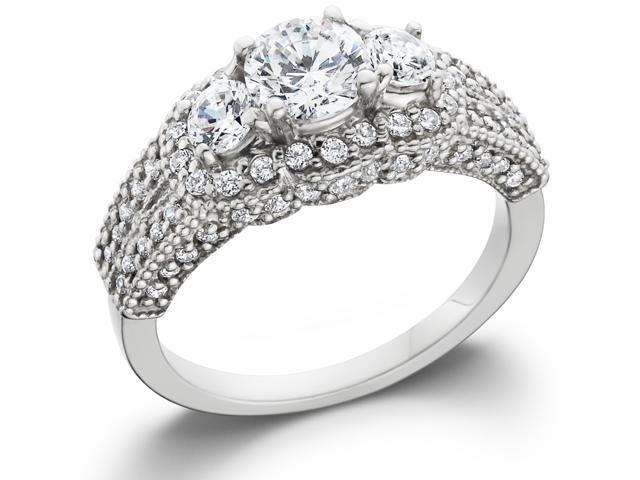 1 5/8ct Vintage Heirloom Diamond Ring 14K White Gold