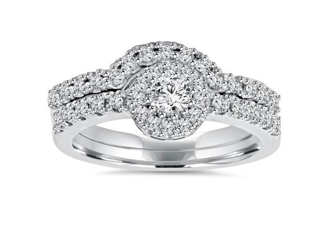 1ct Diamond Engagement Matching Wedding Ring 14K Set