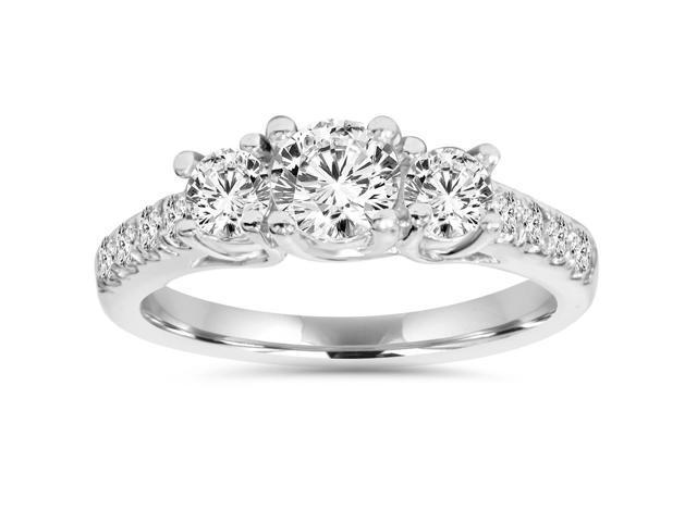 1 1/4ct Diamond Three Stone Accent Ring 14K White Gold