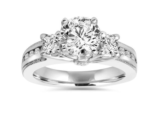 2 1/2ct 3-Stone Round Enhanced Diamond Engagement Vintage Accent Ring Soliatire