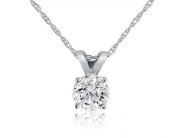 1/6ct Solitaire Real 14K Diamond Pendant Necklace