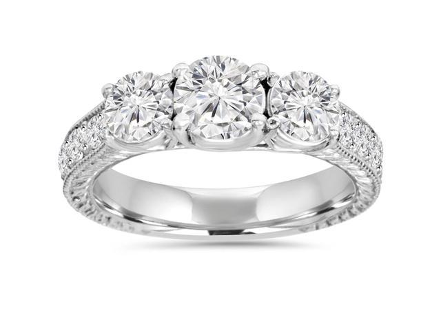 1 3/4ct Diamond Vintage 3-Stone Engagement Ring 14K White Gold Antique