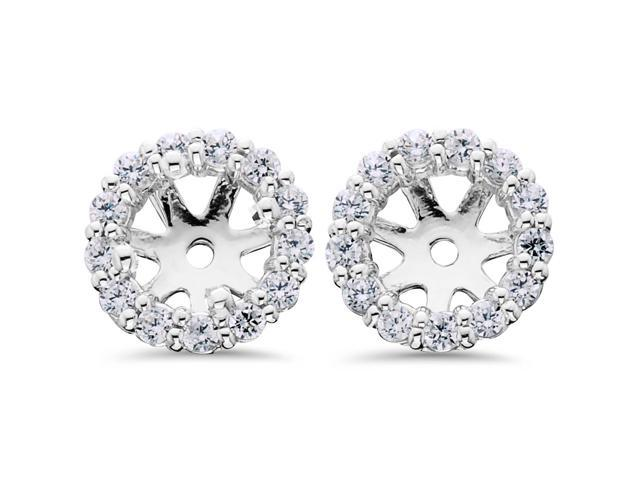 14K White Gold 1/2ct. Diamond Earring Jackets