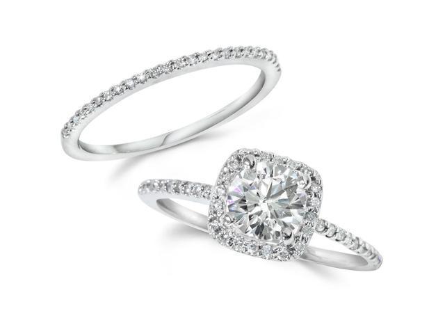 Cushion Halo Diamond 1 ct Engagement Ring Matching Wedding Ring 14K White Gold