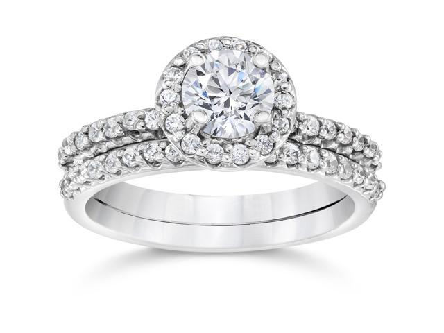 1 1/10ct Diamond Pave Halo Solitaire Engagement Wedding Ring Set 14K White Gold