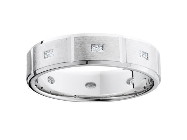 Mens Princess Cut Diamond White Gold Wedding Ring Band
