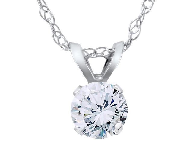 3/8ct Round Diamond Solitaire Pendant Necklace 14K White Gold