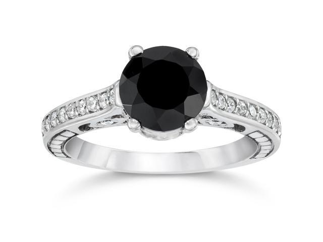 1 1/4ct Treated Vintage Black Diamond Engagement Ring 14K White Gold