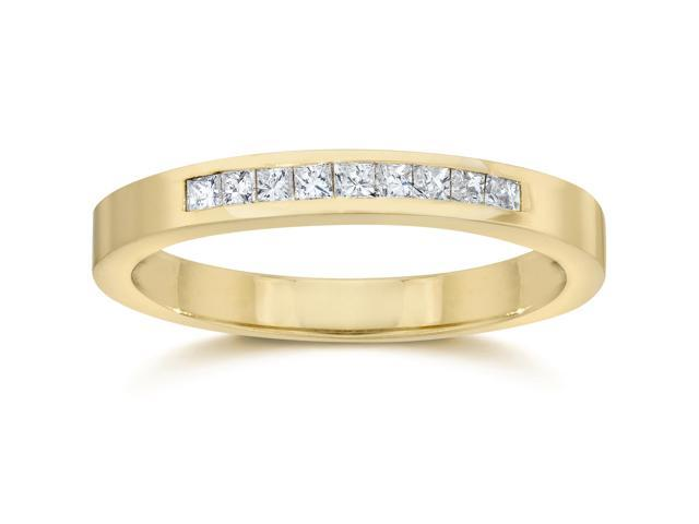 1/4ct Princess Cut Diamond Wedding Yellow Gold Ring