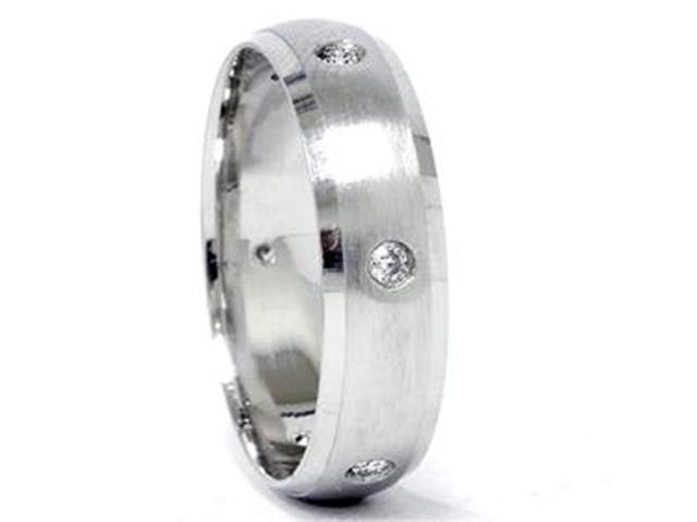 Mens 950 Palladium Beveled Diamond Wedding Ring Band