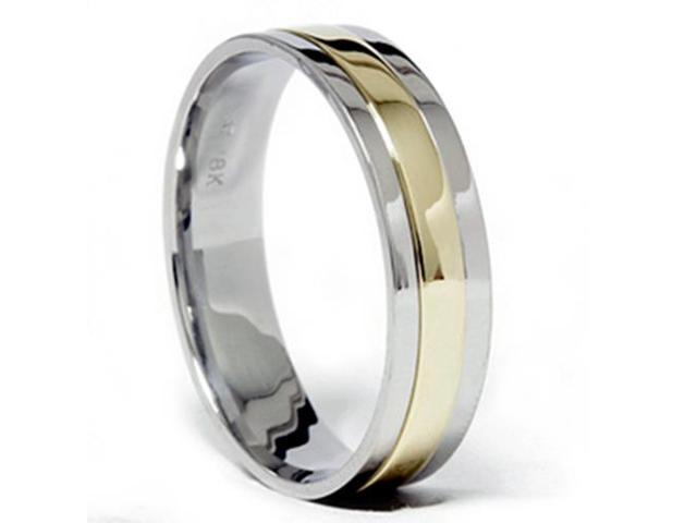 6mm 950 Platinum & 18k Gold Two Tone Wedding Band Ring