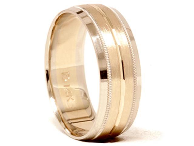 Mens 14K Gold 8mm Comfort Fit Two Tone Wedding Band