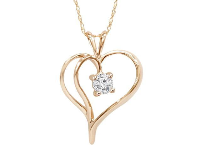 1/3Ct Solitaire Round Diamond Heart Pendant & Chain 14K Rose Gold 1
